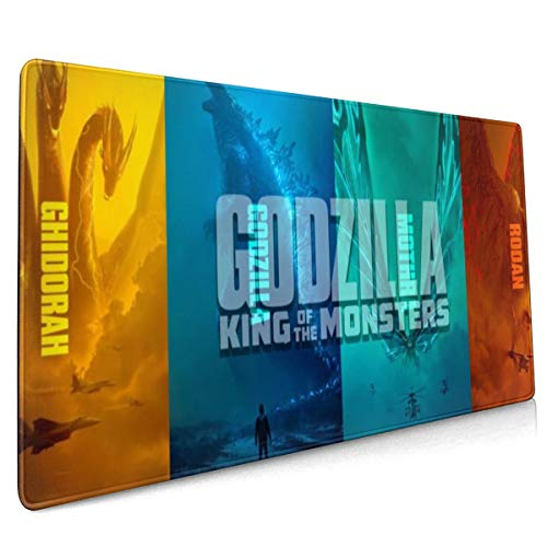 Godzilla and Rodan&Ghidorah Extended Gaming Mouse Mat, DIY Custom Professional Mouse Pad (35.5x15.8In),Desk Pad Keyboard Pad Mat, Water-Resistant, Non-Slip Base, for Work & Gaming, Office & Home