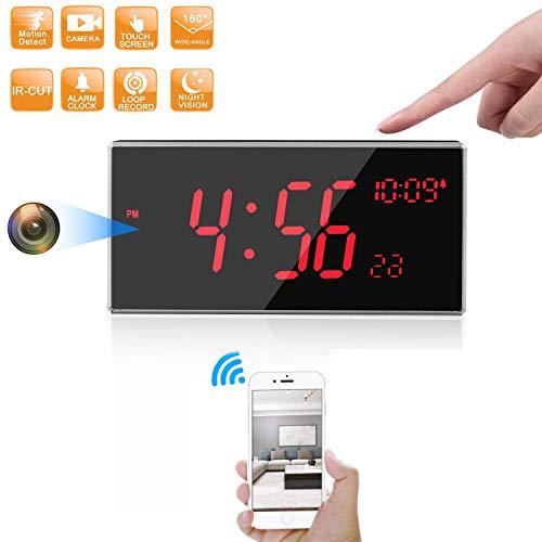 Cámara Oculta-Cámara espía WiFi-Cámara de Reloj FHD 1080P Más de 33 pies de visión Nocturna con Soporte de Corte IR Detección de Movimiento para el hogar/Oficina/Exterior