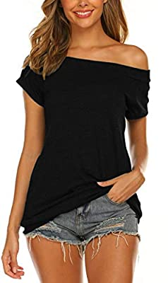 Womens Tops and Blouses Short Sleeve Summer Loose Off The Shoulder Shirts Black M by
