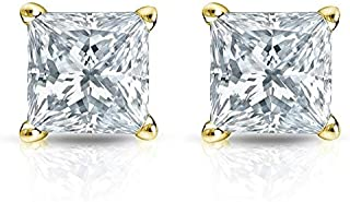 4.0 ct Brilliant Princess Cut Solitaire White Lab Created VVS1 Ideal Sapphire Anniversary gift Stud Earrings Real Solid 14k Yellow Gold Push Back, ClaraPucci
