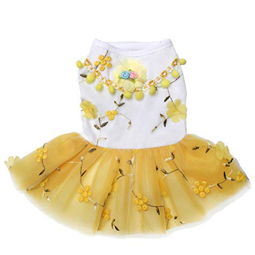 TONY HOBY Dog Embroidered Lace Dress with Flower Pattern for Dog Wedding Apparel White
