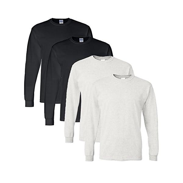 Gildan Men's DryBlend Moisture Wicking Long Sleeve T Shirt (Pack of 4)
