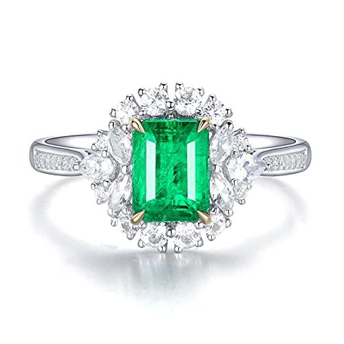 Amody Anillo de Esmeralda Oro Blanco 18K, Anillos Matrimonio con Diamante y Esmeralda 1.38ct Tamaño 12