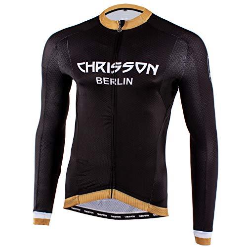 CHRISSON Urban Gold XXL Fahrradtrikot Langarm für Herren, Atmungsaktive und Schnelltrocknende Fahrradbekleidung, Radtrikot mit Reißverschluss, Fahrrad Trikot für Männer mit 3 großen Rückentaschen