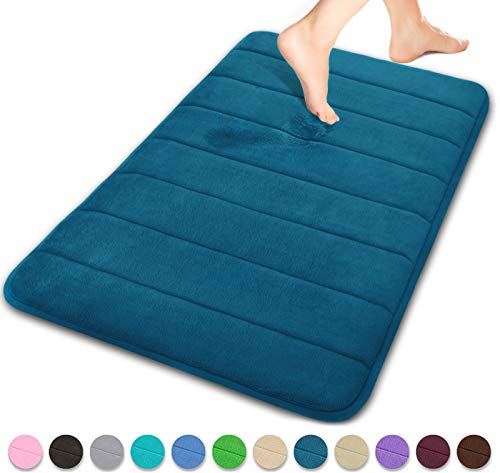 Yimobra Memory Foam Bath Mat Large Size 31.5 by 19.8 Inches, Soft and Comfortable, Super Water Absorption, Non-Slip, Thick, Machine Wash, Easier to Dry for Bathroom Floor Rug, Peacock Blue