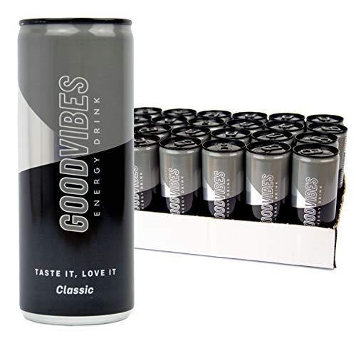 GOODVIBES® Energy Drink Dosen Getränke 24er Palette, EINWEG (24 x 250 ml) inkl. Pfand