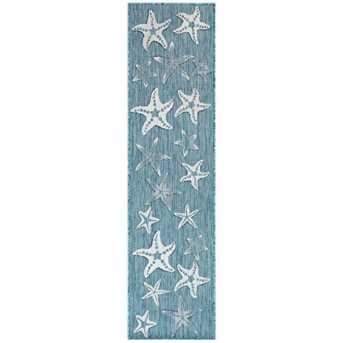 Liora Manne Indoor/Outdoor Rug, 1'11' x 7'6', Starfish Aqua