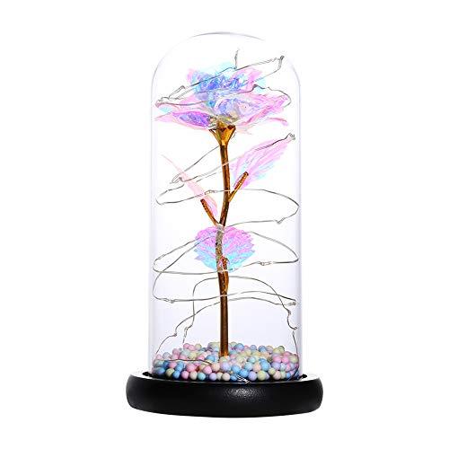 Lámpara nocturna de espuma de 20 luces LED con forma de cúpula de cristal rosa, alambre de cobre, recargable por USB, luces de noche, para decoración de habitación del hogar o regalo de amigos