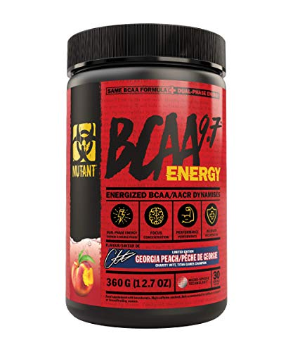 Mutant BCAA 9.7 Energy Powder with Branched-Chain Amino Acids, Electrolytes and Dual-Phase Caffeine for unstoppable energy with no crash. Georgia Peach (360 g)