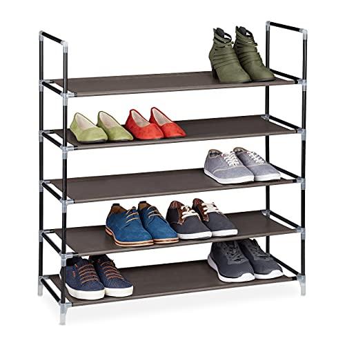 Relaxdays Zapatero Abierto, 5 Estantes, Estantería para 20 Pares de Zapatos, Metal y Tela, 90,5 x 87 x 29,5 cm, Marrón