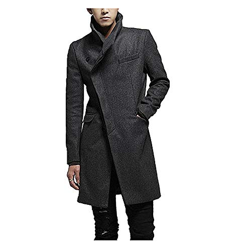 N\P Abrigo largo de lana para hombre de otoño e invierno con hebilla cortavientos