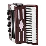 Garosa Acordeón en Miniatura Modelo 6CM Modelo Instrumental Rojo de Madera con Caja Delicada Regalo Musical