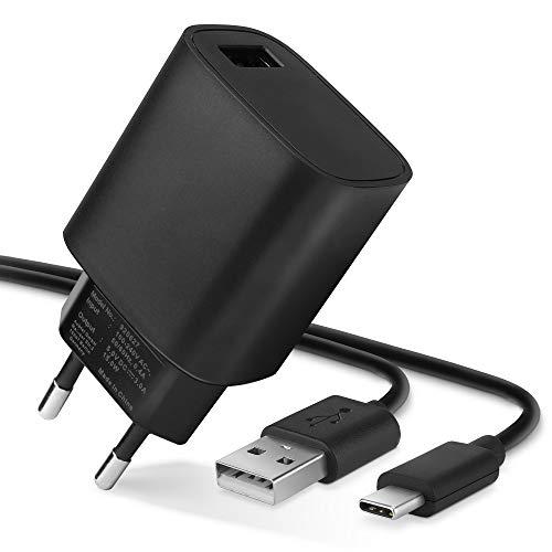 subtel® Chargeur de Qualité - 1m (3A) Compatible avec Bang & Olufsen BeoPlay A1, A2 Active, P2, P6 / BeoLit 17 (5V / USB C (Type C)) Chargeur Câble Secteur Noir