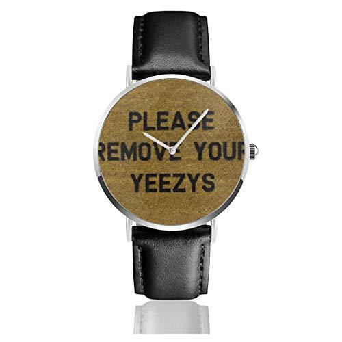 Bitte entfernen Sie Ihre Yeezys Black Quartz Movement Edelstahl Lederband Uhren Casual Fashion Armbanduhren