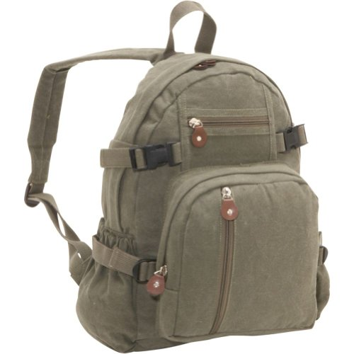 Rothco Vintage Canvas Mini Backpack (Olive)