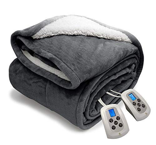 Electric Blanket MicroPlush Sherpa and Reversible Flannel Washable Comfortable with 10 Heat Settings/ Safety 10 Hours Auto-Off Controller King Size Bed Blanket(100X90'' Grey)