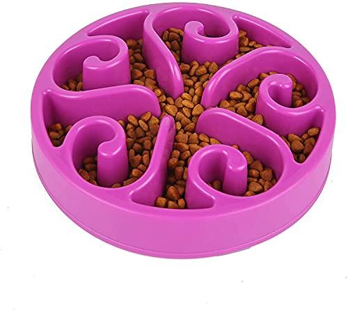 CYWVYNYT langsame Fütterung Hundenapf, Interessanter interaktiver Hundenapf, langlebige ungiftige und umweltfreundliche Bambusfaser Futterschüssel (purple)