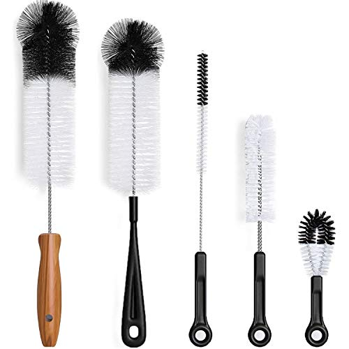 Bottle Brush Cleaner 5 Pack, Long Water Bottle and Straw Cleaning Brush, Kitchen Wire Scrub Set for Washing Different Diameters and Sizes