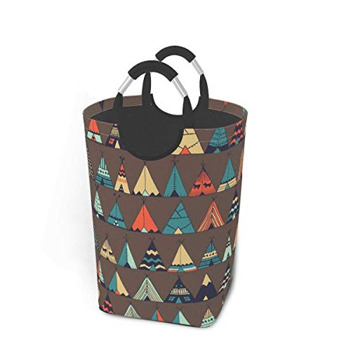 Hdadwy Collapsible Laundry Baskets,Dirty Laundry Hamper,Cute Cartoon TeepeeN/Ative American Summer Tent,Colapsable Laundry Basket Metal Handles,Dorm Collaspable Laundry Basket Fabric For Camp Travel K