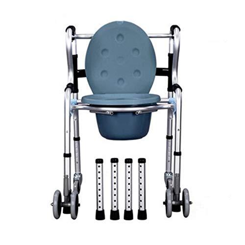 XLCZ Schwerer Nachttisch-Toilettenstuhl - 3-in-1-Toilettenstuhl, Sicherheitsrahmen Für Duschstühle Auf Rollen, Höhenverstellbar Und Extrabreite Sitzfläche