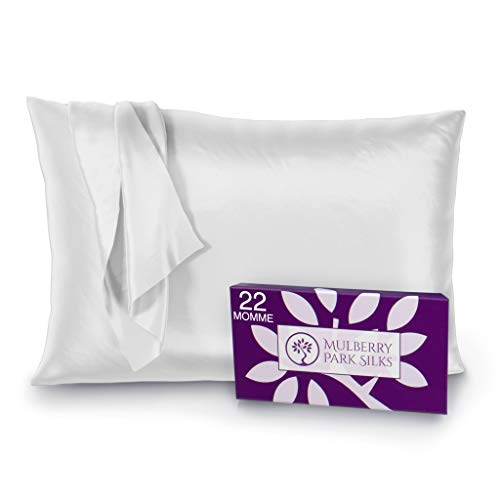Mulberry Park - 22 Momme Silk Pillowcase - Prevents Bed Head, Tames Frizz, Moisturizes Skin, Minimizes Sleep Lines and Helps with Wrinkles - Highest Grade 6A Pure Mulberry Silk - 1pc White Queen