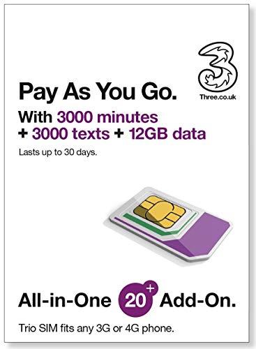 Europe (U.K.) prepaid sim with 42 countries - Three SIM Card with £20 Credit 300min+300texts+12GB data (Europe Prepaid Sim) 42 Destinations! 3 sim!