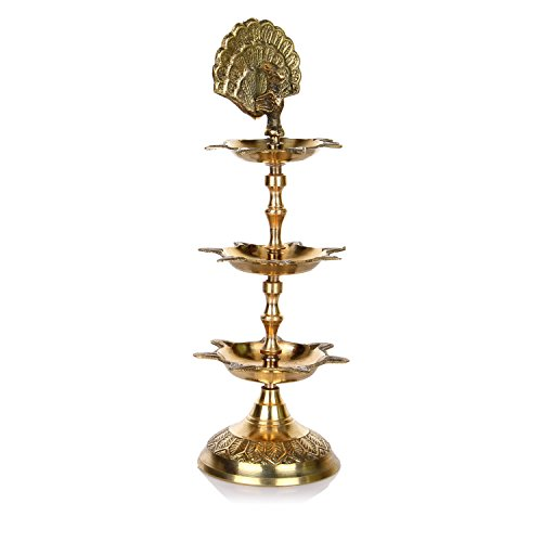 Hashcart handgefertigte indische PanchMahal-Diya-Messing-Lampe, graviert, 3 in 1, Verstellbarer Durchmesser Gold