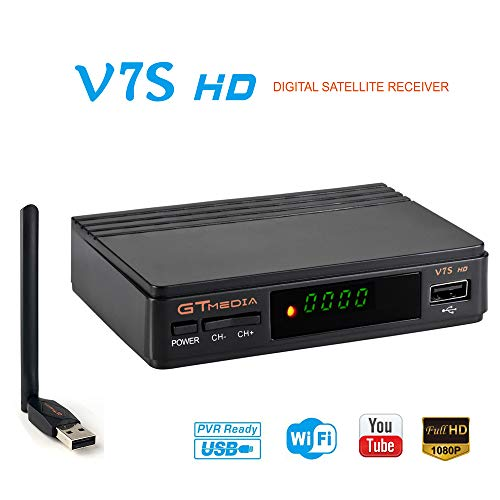 GT MEDIA V7S HD Receptor TV Satélite DVB-S2 Decodificador Digital Satelite con Antena WiFi USB, 1080P Full HD Soporte PVR CCcam Youtube (Freesat V7 HD Mejorada)