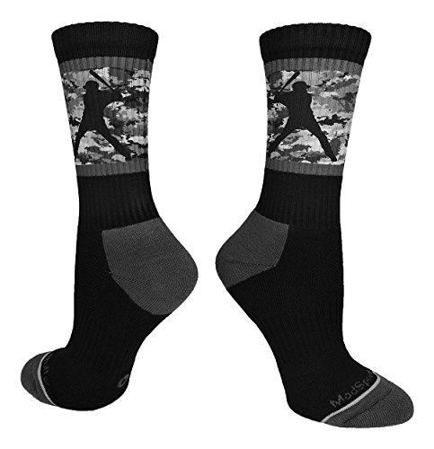 MadSportsStuff Baseball-Socken mit Spieler auf Camouflage-Hintergrund, Crew-Socken (mehrere Farben), Jungen, Schwarz/Graphit-Camouflage., Medium