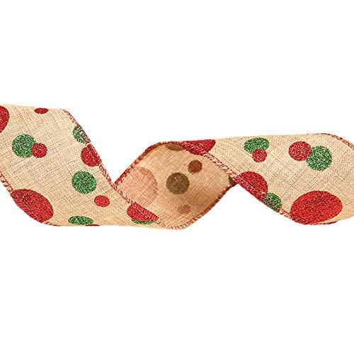 lijun 10 Rollos de arpillera rústica de Dibujos Animados de Alce Cinta navideña DIY Envoltura de Regalos decoración