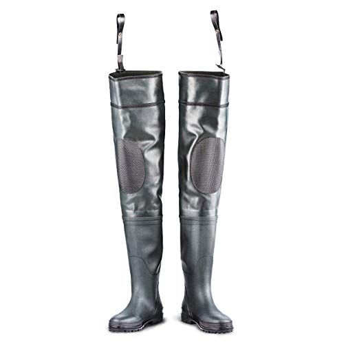 Hip Waders Rubber Waterproof Wading Boots for Men Heavy Duty Bootfoot with Padded Knee Adjustable Belt leashes with Snaps,for Fly Fishing and Hunting, Cleated or Felt Outsole (Deep Green, Cleated 13)