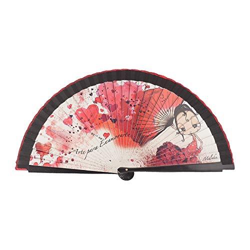 Abanico Original Malaka de Madera diseño Enamorarte, complemento de Calidad con Caja de cartón Gratuita a Juego (23 cm)