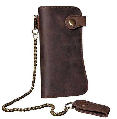 Mens Wallet with Chain Leather Long Bifold Trucker Wallet Vintage Biker Money Clip with Zipper(Brown w/Iron Chain)
