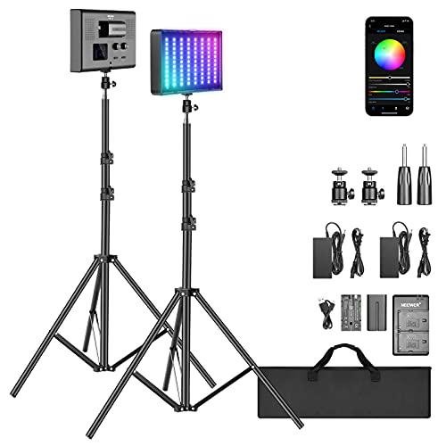 Neewer 2 Pack P280 RGB LED Kit de Batería de Luz de Video con Control de Aplicación - CRI97+ / 3200-5600K / 360° a Todo Color / 9 Escenas Aplicables, Panel Luz LED con Difusor Desmontable para YouTube