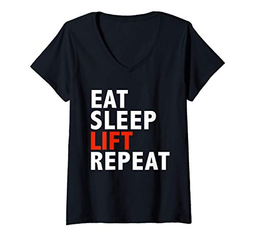 Mujer Funny Eat sleep lift and repeat Workout Body Building Gift Camiseta Cuello V