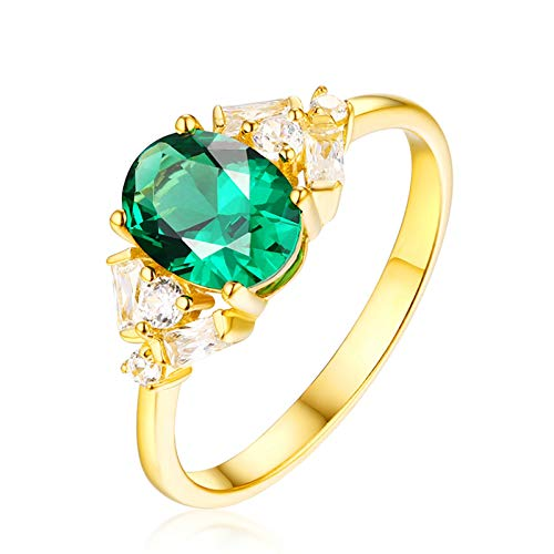 AueDsa Ring Green Ring for Women 18K Yellow Gold Emerald Ring 0.67ct with Diamond Ring Size S 1/2