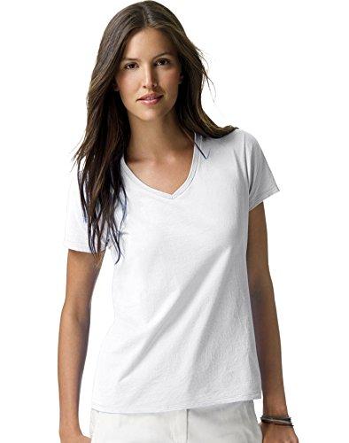 Hanes Women's Nano Premium Cotton V-Neck Tee, White, Small