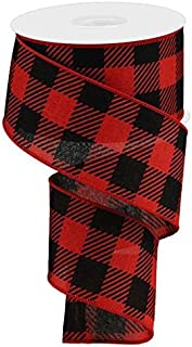 Large Striped Check Wired Edge Ribbon - 10 Yards (Red, Black, 2.5