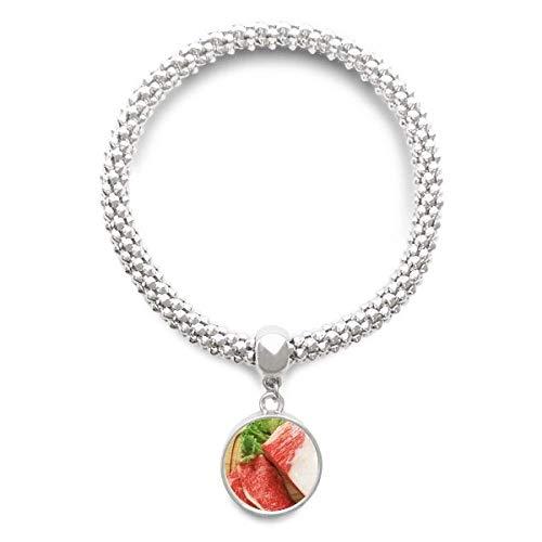 DIYthinker Gigot dagneau Viande Crue des Aliments Texture Sliver Bracelet Ronde Pendentif chaîne de Bijoux pour Les Femmes