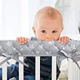 3-Piece Padded Baby Stars Crib Rail Cover Protector Set from Chewing, Crib Rail Teething Guard for Standard Cribs, 1 Front Rail and 2 Side Rails, Secure Crib Rail Guard