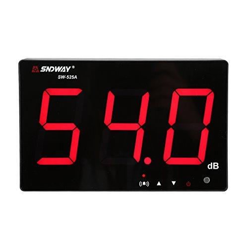 Schallpegelmesser, 30 ~ 130 dB, 24,4 cm LCD-Display, Wandaufhängung, Dezibel, Geräuschmessgerät mit Datenlogger & Alarm (SW-525A)