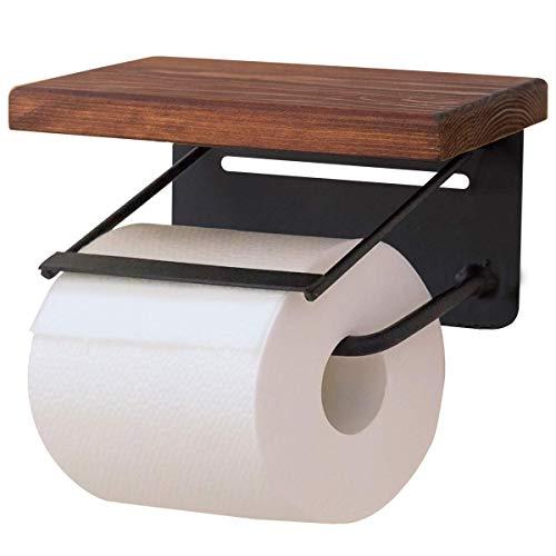 ottostyle.jp トイレットペーパーホルダー 【シングル/ブラウン】 パイン材/オイル仕上げ 2個取付 天然木 棚 小物置き 簡単設置