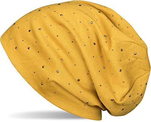 styleBREAKER Damen Beanie Mütze mit edler Strass-Nieten Applikation, Longbeanie Slouch 04024037, Farbe:Curry