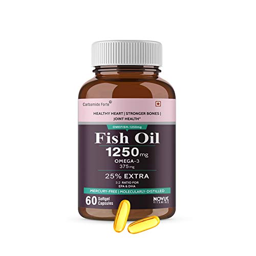 Carbamide Forte Omega 3 Fish Oil 1250mg Capsule Supplement   25% EXTRA -60 Capsules