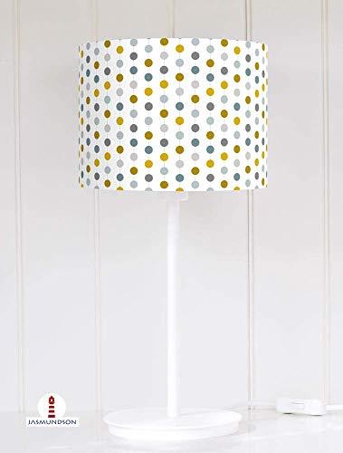 Lampenschirm für Tischlampe Schlafzimmer gepunktet Perlenkette in Petrol und Senfgelb aus Baumwolle - alle Farben möglich