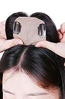 HIYE 人毛100% 部分ウィッグ 手植え リアル 分け目 前髪 ヘアーピース 横8cm縦12cm (斜め自然黒, 20cm)