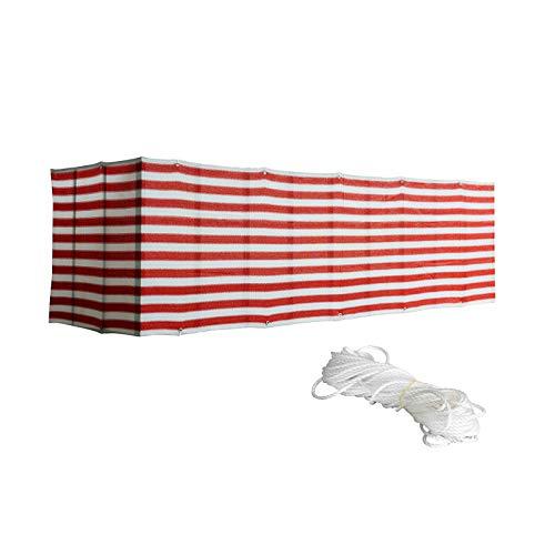 æ— Pantalla para valla de malla de rayas rojas y blancas, 5 x 0,9 m, con cuerda y ojales de metal para patio