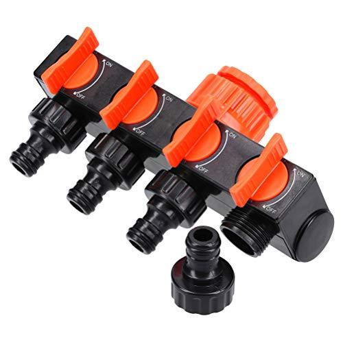 Wasser-Verteiler 4-Wege 3/4 Zoll I Garten Wasserteiler I Wasserhahn-Adapter I regulier und absperrbar