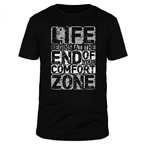 FABTEE - Life Begins at The End of Your Comfort Zone - Herren T-Shirt Größen S-3XL, Größe:L, Farbe:Schwarz