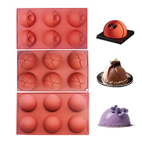 Baker Depot Backformen-Set, Siliokon-Kuppelform, für Kuchendekoration, Gelee, Pudding, Schokolade, 6 Mulden, Blumen-Auge-Design, halbrund, braun, 3 Stück